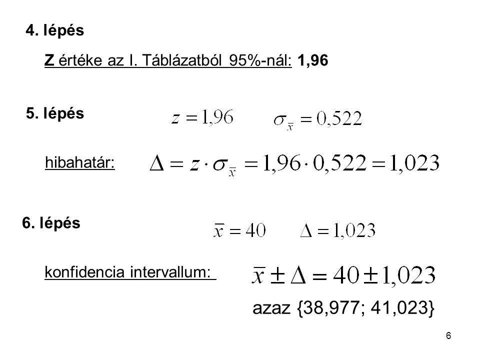 4. lépés Z értéke az I. Táblázatból 95%-nál: 1,96. 5. lépés. hibahatár: 6. lépés. konfidencia intervallum: