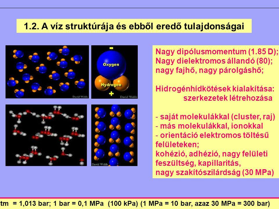 1.2. A víz struktúrája és ebből eredő tulajdonságai