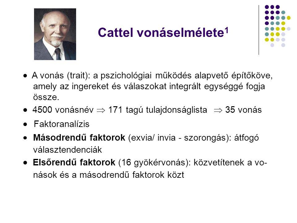 Cattel vonáselmélete1  A vonás (trait): a pszichológiai működés alapvető építőköve, amely az ingereket és válaszokat integrált egységgé fogja.