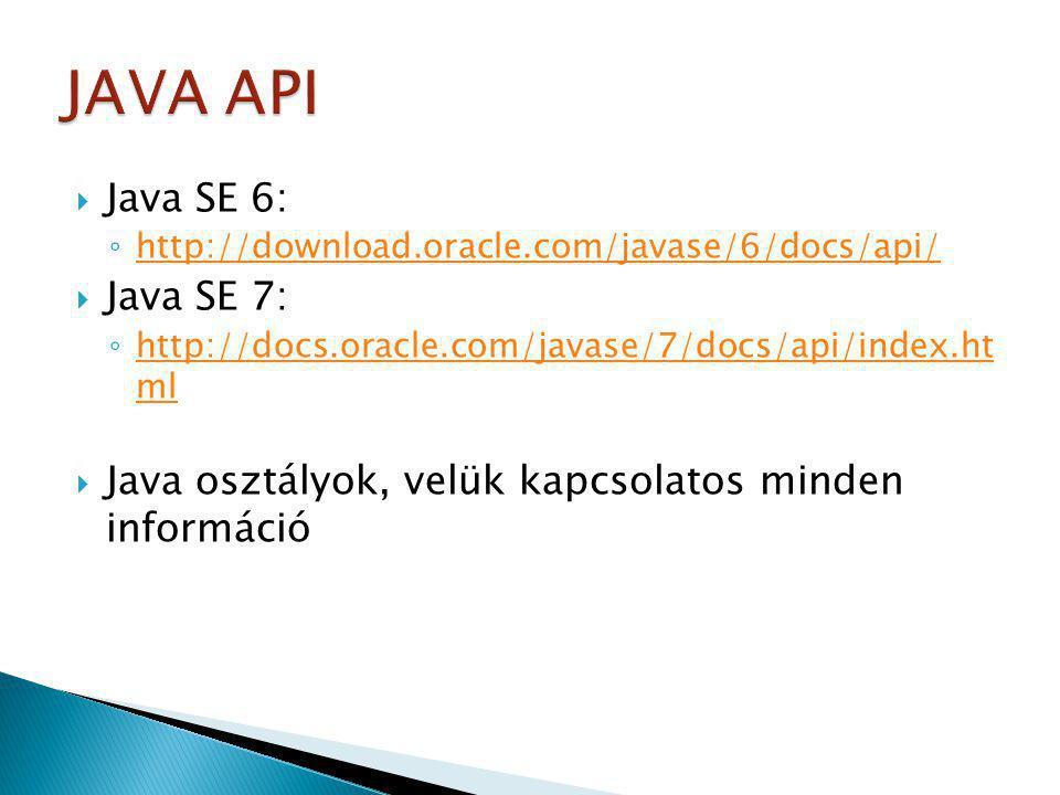 JAVA API Java SE 6: Java SE 7: