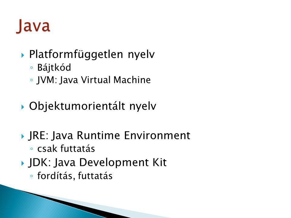 Java Platformfüggetlen nyelv Objektumorientált nyelv