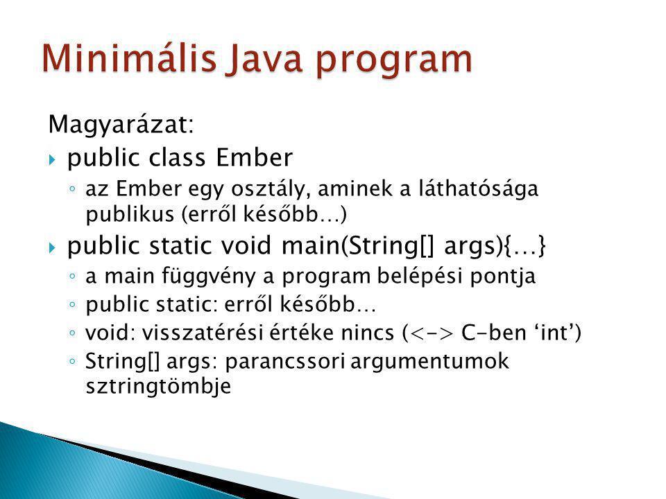 Minimális Java program