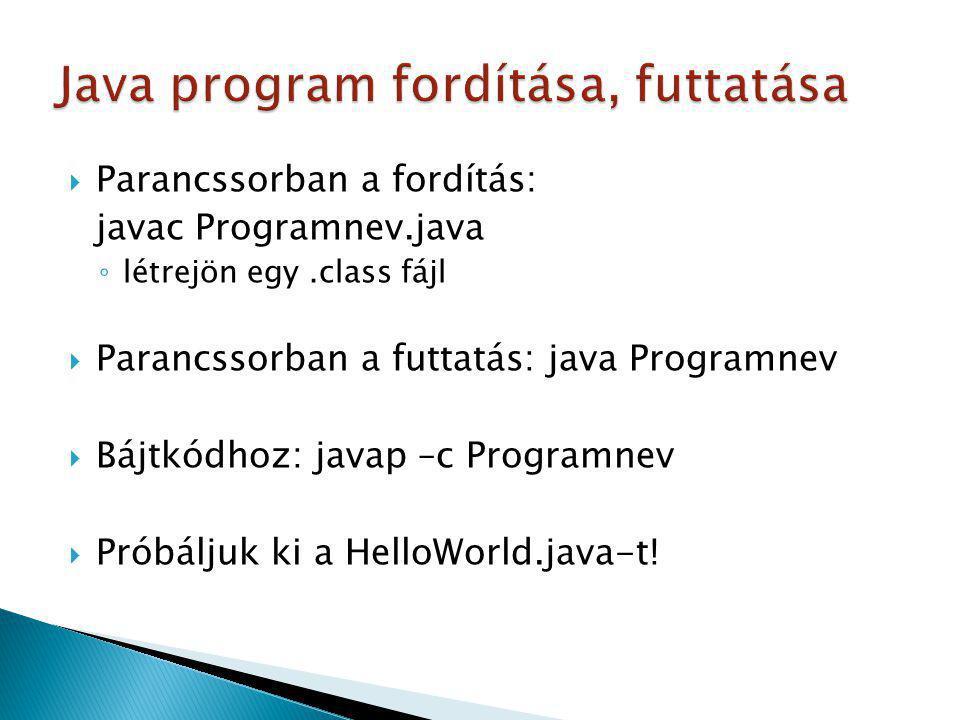 Java program fordítása, futtatása