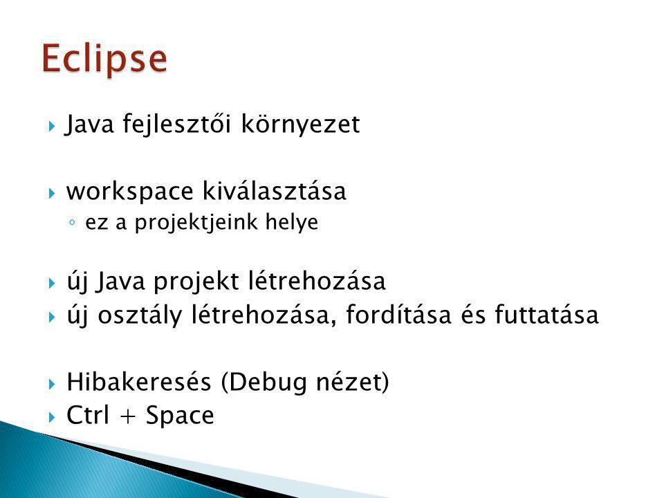 Eclipse Java fejlesztői környezet workspace kiválasztása