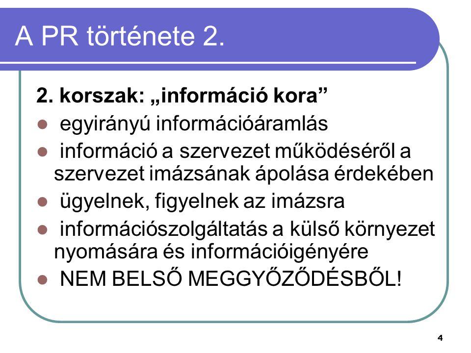 """A PR története 2. 2. korszak: """"információ kora"""