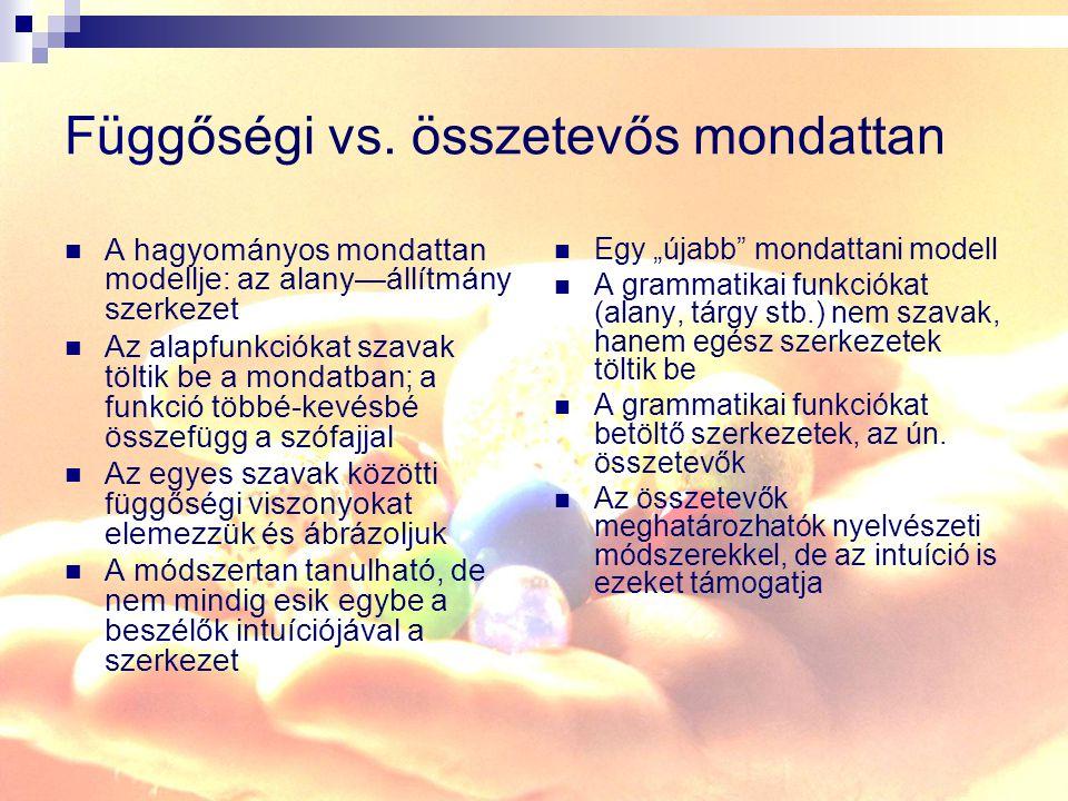 Függőségi vs. összetevős mondattan
