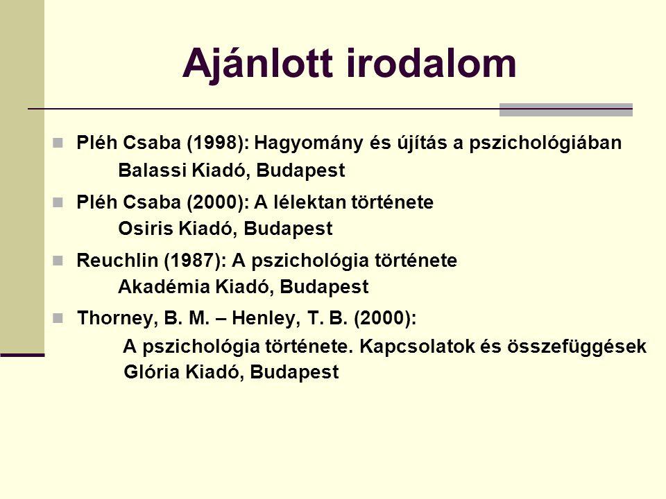Ajánlott irodalom Pléh Csaba (1998): Hagyomány és újítás a pszichológiában. Balassi Kiadó, Budapest.