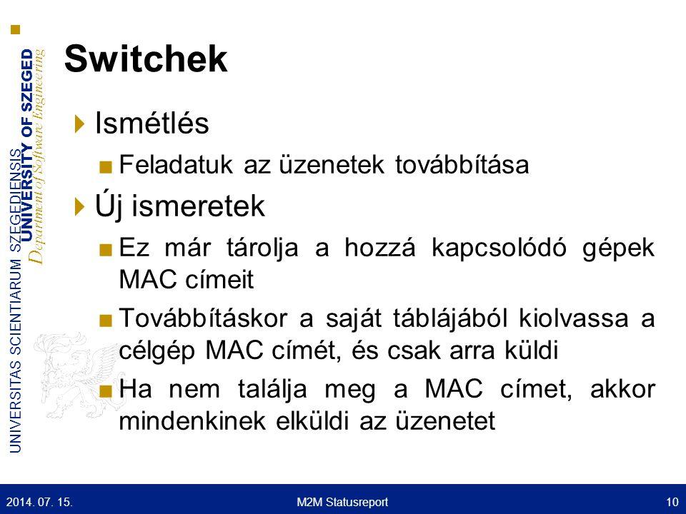 Switchek Ismétlés Új ismeretek Feladatuk az üzenetek továbbítása
