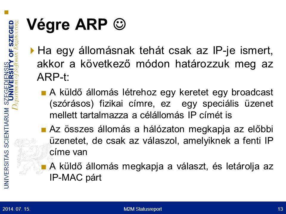 Végre ARP  Ha egy állomásnak tehát csak az IP-je ismert, akkor a következő módon határozzuk meg az ARP-t: