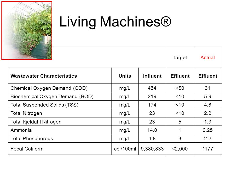Living Machines® Target Actual Wastewater Characteristics Units