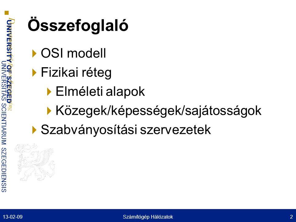 Összefoglaló OSI modell Fizikai réteg Elméleti alapok