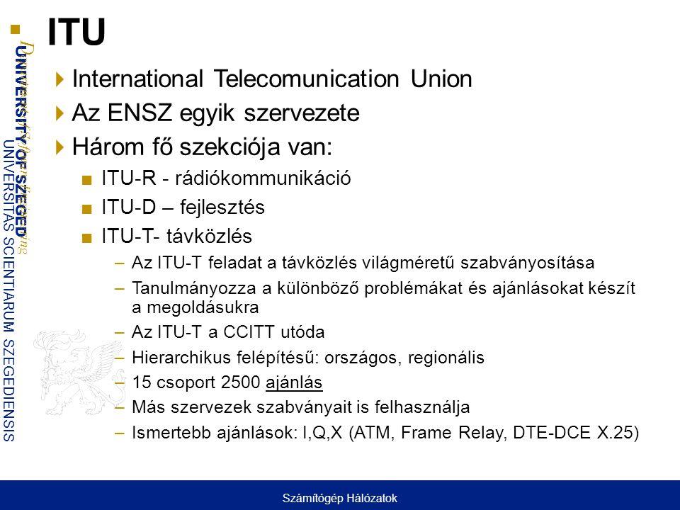 ITU International Telecomunication Union Az ENSZ egyik szervezete