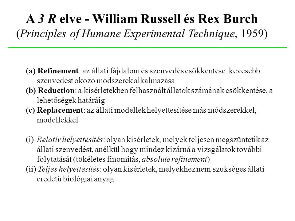 A 3 R elve - William Russell és Rex Burch (Principles of Humane Experimental Technique, 1959)