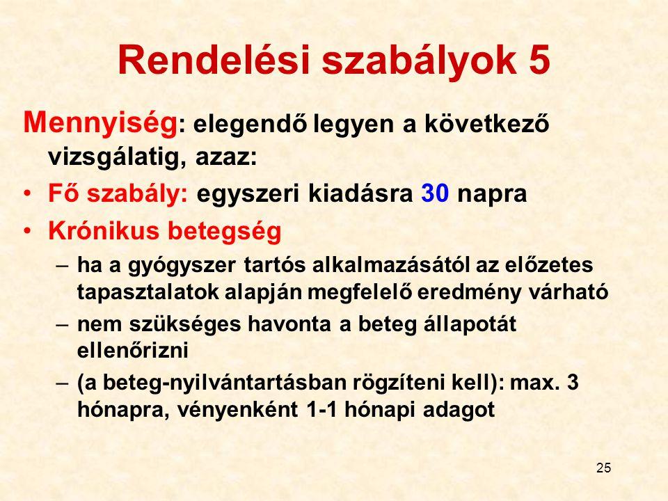 Rendelési szabályok 5 Mennyiség: elegendő legyen a következő vizsgálatig, azaz: Fő szabály: egyszeri kiadásra 30 napra.