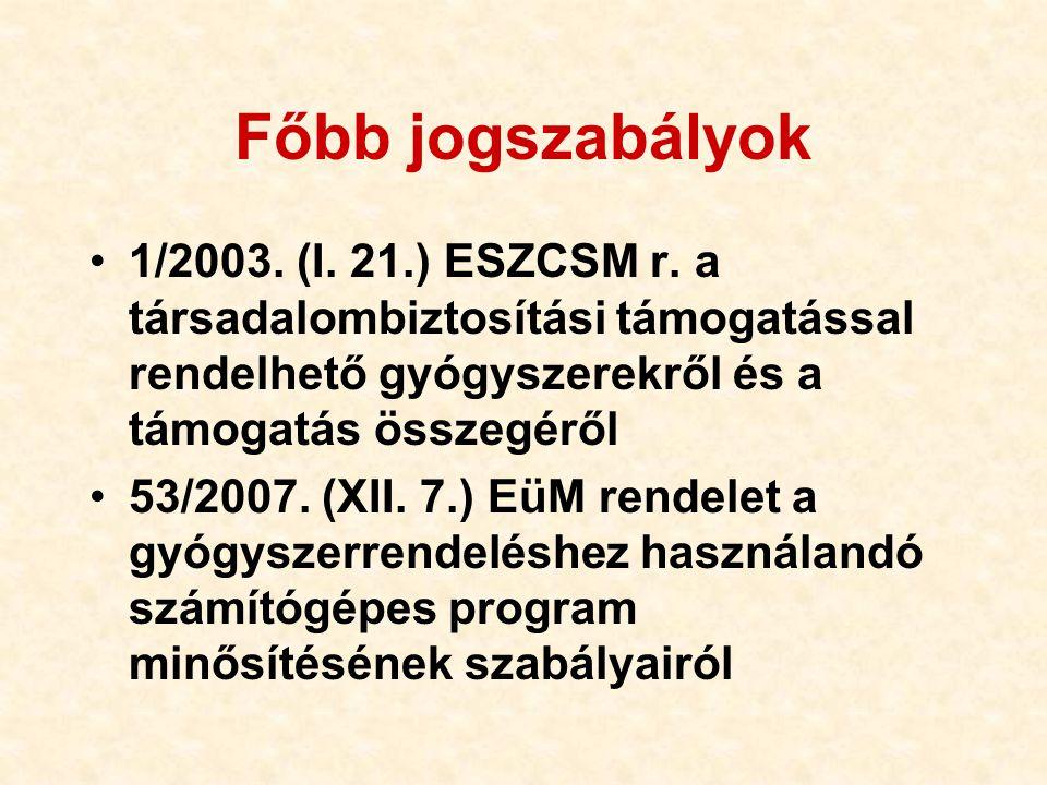 Főbb jogszabályok 1/2003. (I. 21.) ESZCSM r. a társadalombiztosítási támogatással rendelhető gyógyszerekről és a támogatás összegéről.