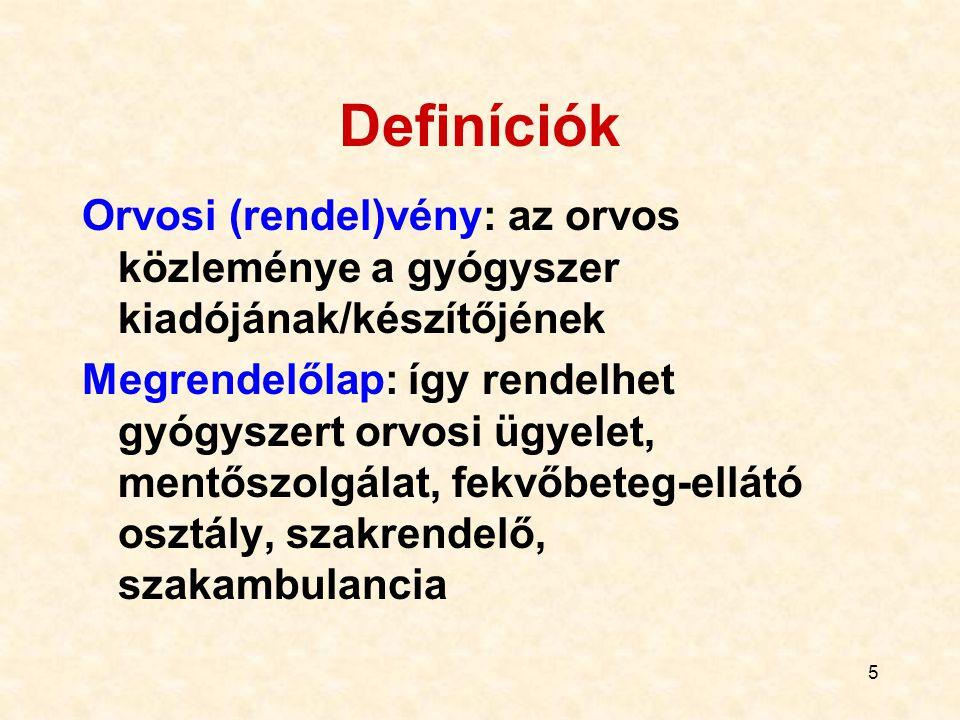 Definíciók Orvosi (rendel)vény: az orvos közleménye a gyógyszer kiadójának/készítőjének.