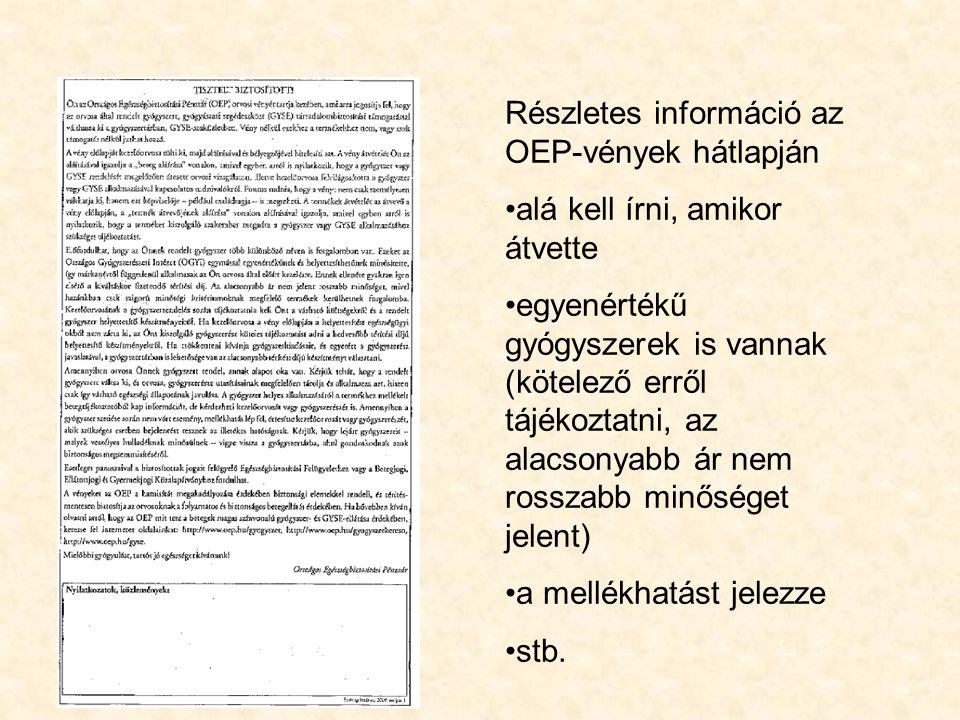 Részletes információ az OEP-vények hátlapján
