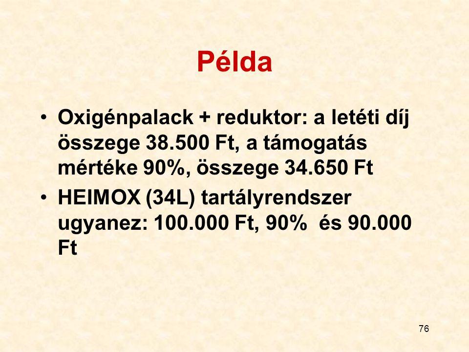Példa Oxigénpalack + reduktor: a letéti díj összege 38.500 Ft, a támogatás mértéke 90%, összege 34.650 Ft.