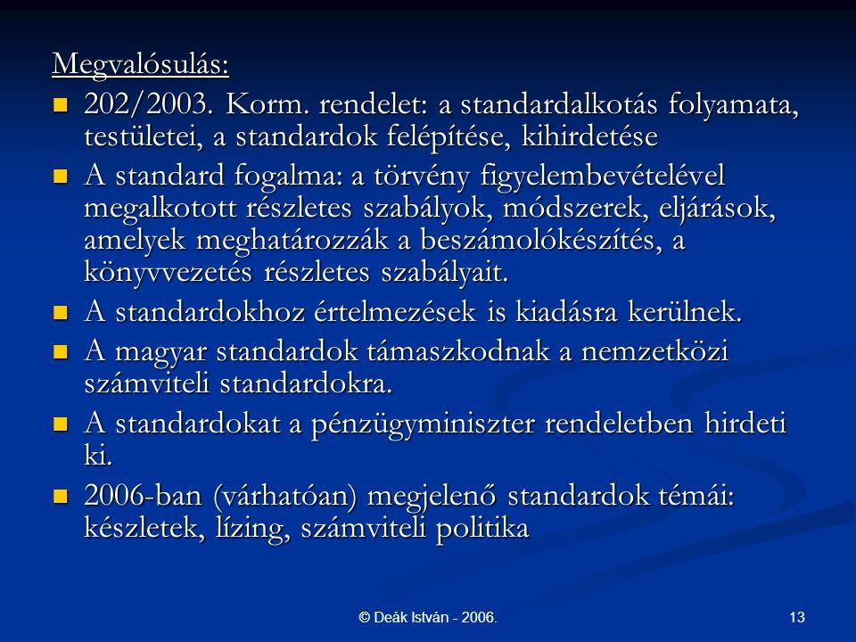 A standardokhoz értelmezések is kiadásra kerülnek.