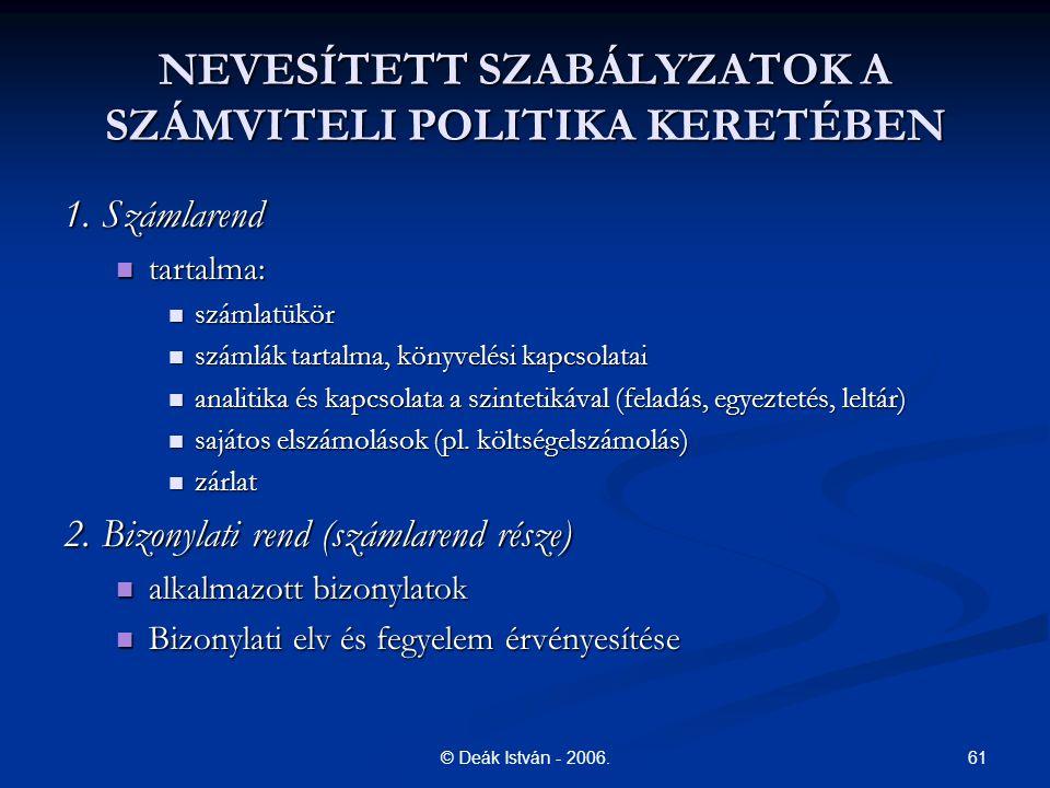 NEVESÍTETT SZABÁLYZATOK A SZÁMVITELI POLITIKA KERETÉBEN