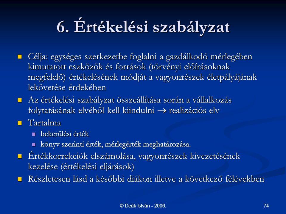 6. Értékelési szabályzat