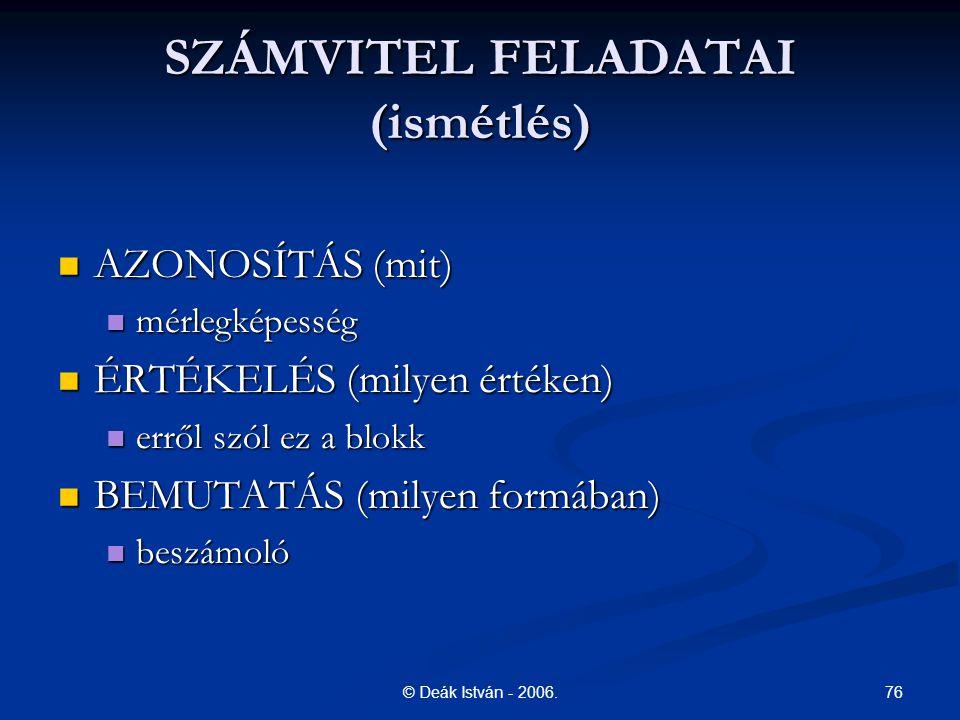 SZÁMVITEL FELADATAI (ismétlés)