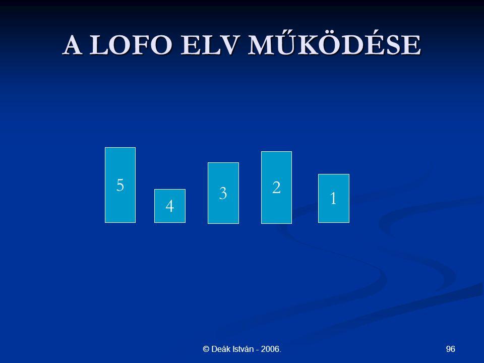 A LOFO ELV MŰKÖDÉSE 5 2 3 1 4 © Deák István - 2006.
