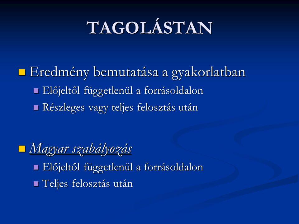 TAGOLÁSTAN Eredmény bemutatása a gyakorlatban Magyar szabályozás