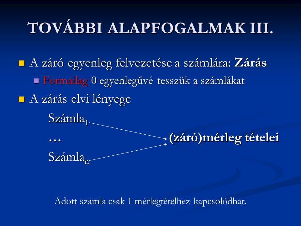 TOVÁBBI ALAPFOGALMAK III.