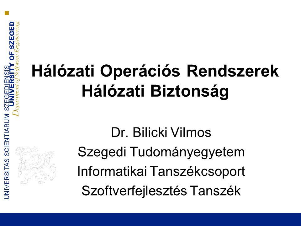 Hálózati Operációs Rendszerek Hálózati Biztonság