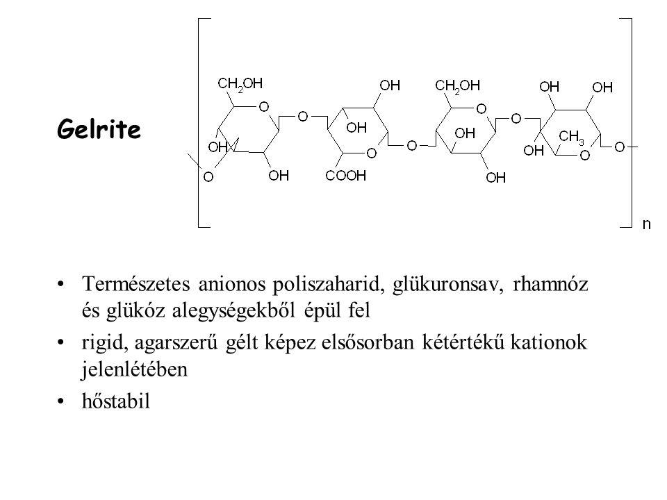 Gelrite Természetes anionos poliszaharid, glükuronsav, rhamnóz és glükóz alegységekből épül fel.