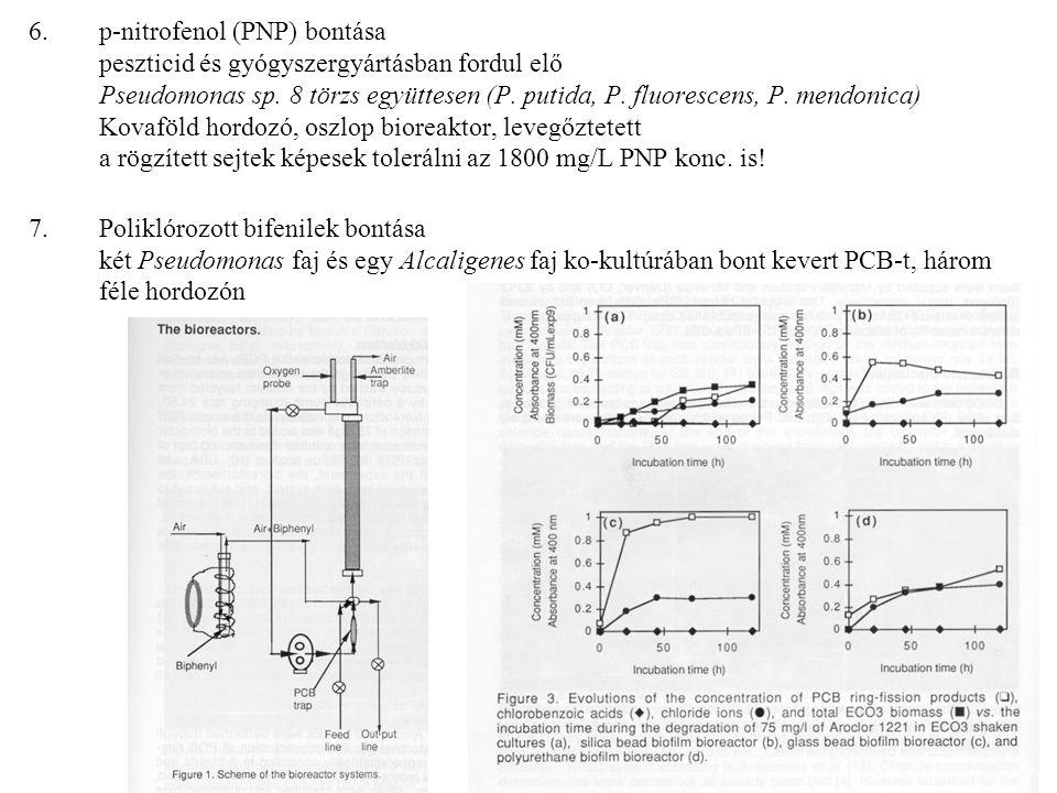 p-nitrofenol (PNP) bontása peszticid és gyógyszergyártásban fordul elő Pseudomonas sp. 8 törzs együttesen (P. putida, P. fluorescens, P. mendonica) Kovaföld hordozó, oszlop bioreaktor, levegőztetett a rögzített sejtek képesek tolerálni az 1800 mg/L PNP konc. is!