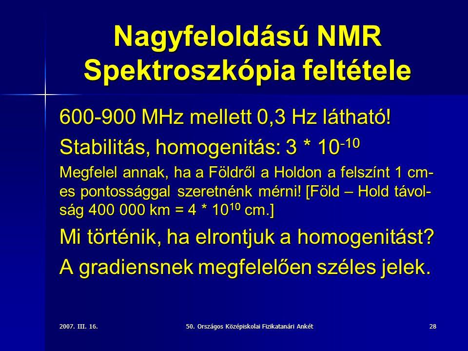 Nagyfeloldású NMR Spektroszkópia feltétele