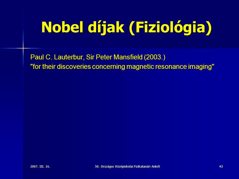 Nobel díjak (Fiziológia)