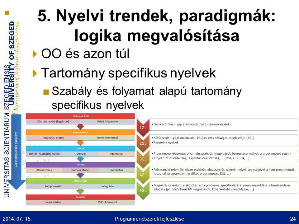 5. Nyelvi trendek, paradigmák: logika megvalósítása