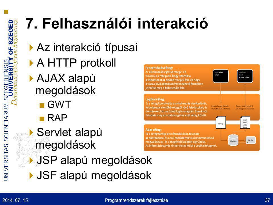 7. Felhasználói interakció