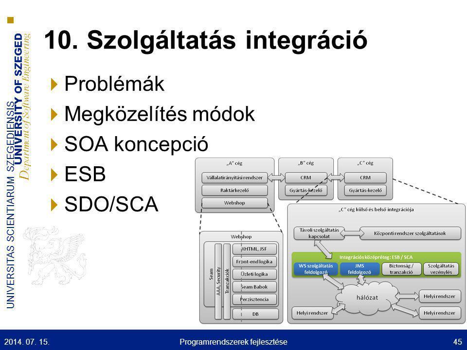 10. Szolgáltatás integráció
