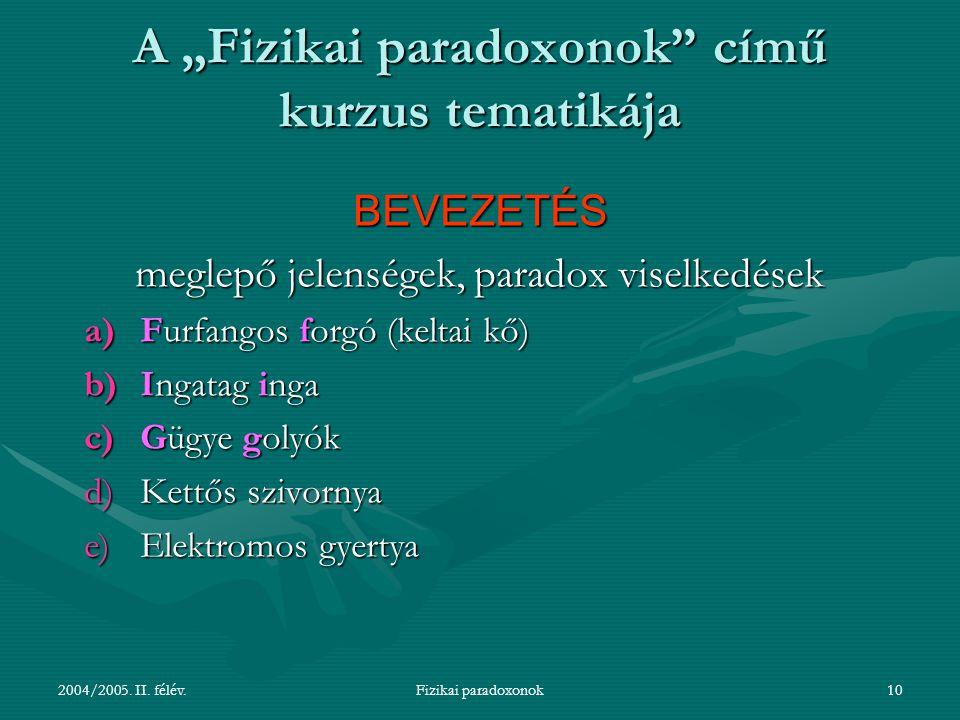 """A """"Fizikai paradoxonok című kurzus tematikája"""