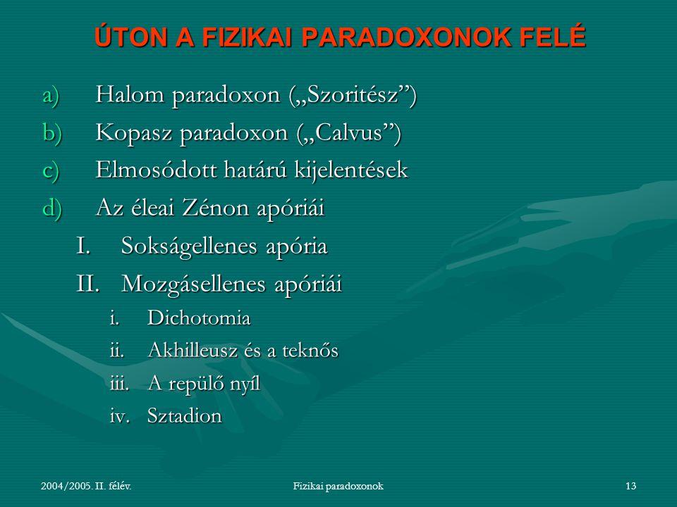 ÚTON A FIZIKAI PARADOXONOK FELÉ