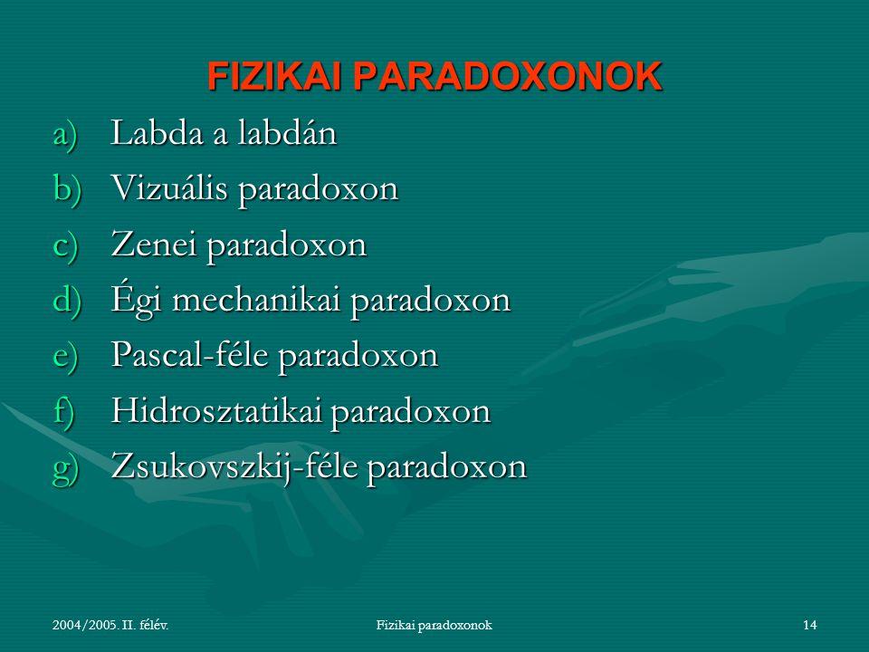 Égi mechanikai paradoxon Pascal-féle paradoxon