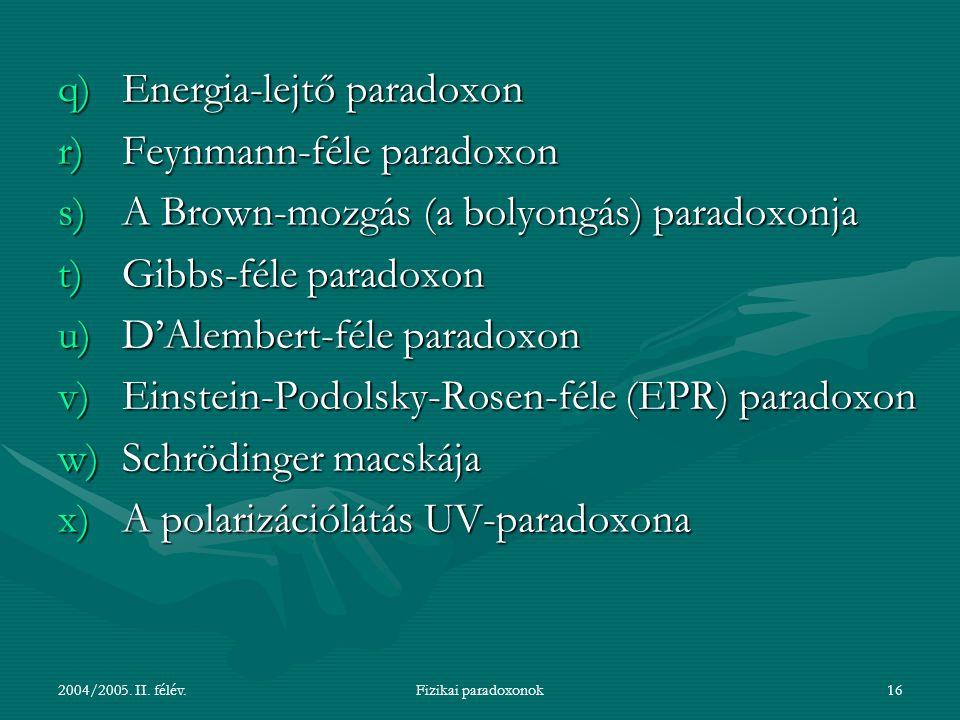 Energia-lejtő paradoxon Feynmann-féle paradoxon