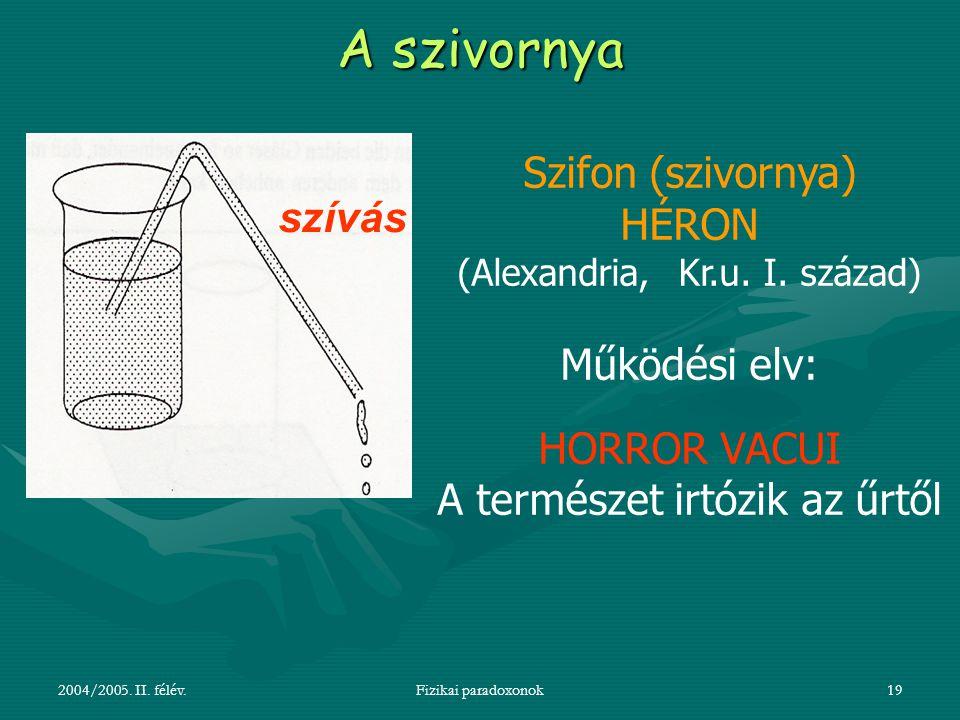A szivornya Szifon (szivornya) HÉRON szívás Működési elv: HORROR VACUI
