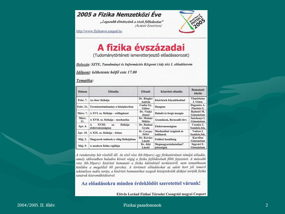 2004/2005. II. félév. Fizikai paradoxonok