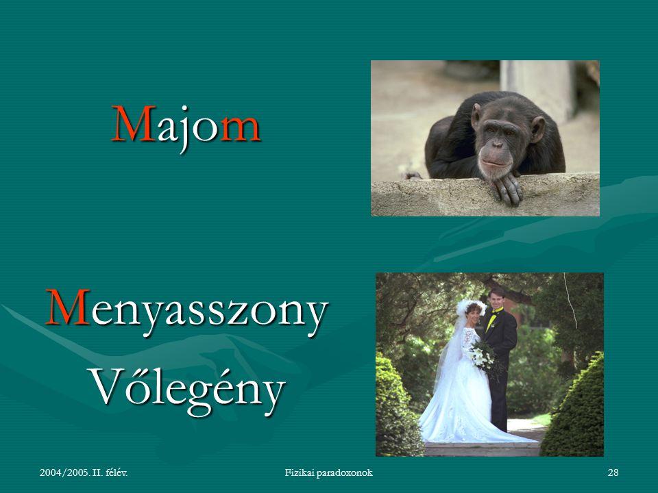 Majom Menyasszony Vőlegény 2004/2005. II. félév. Fizikai paradoxonok