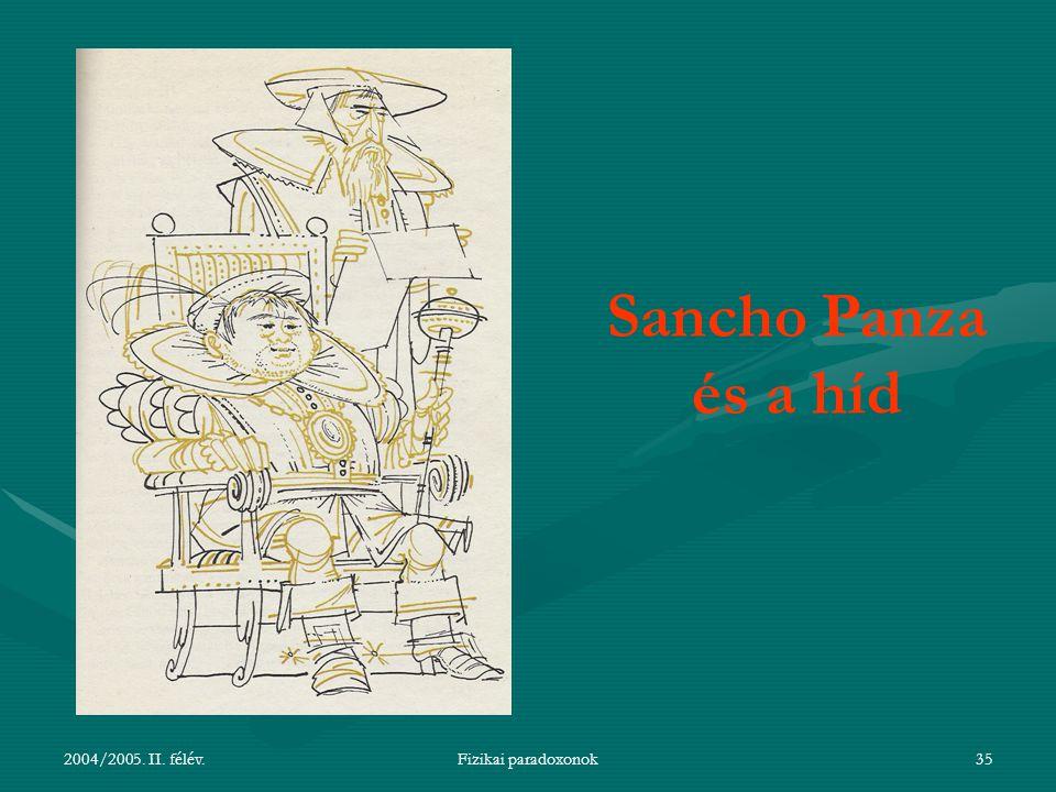 Sancho Panza és a híd 2004/2005. II. félév. Fizikai paradoxonok
