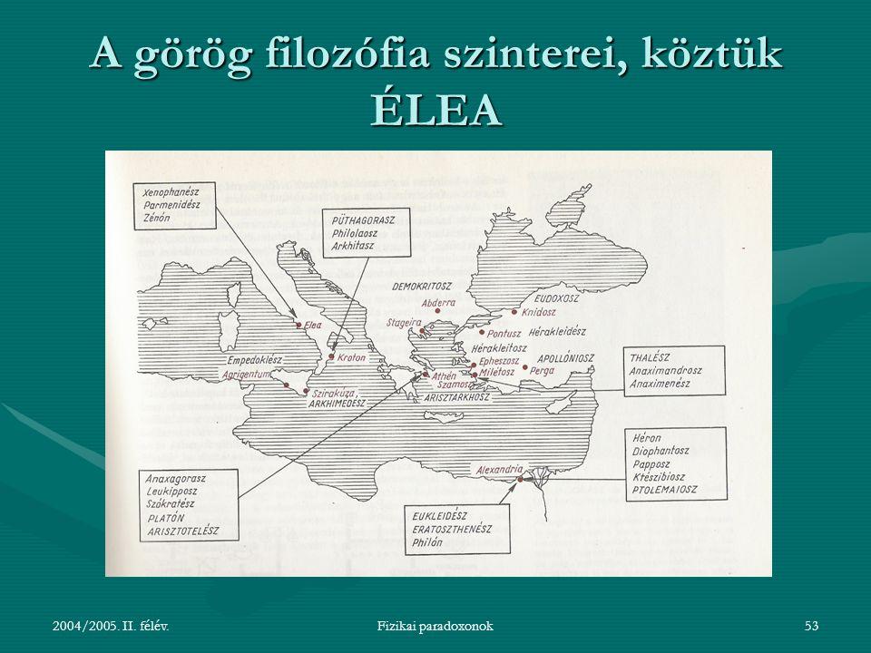 A görög filozófia szinterei, köztük ÉLEA