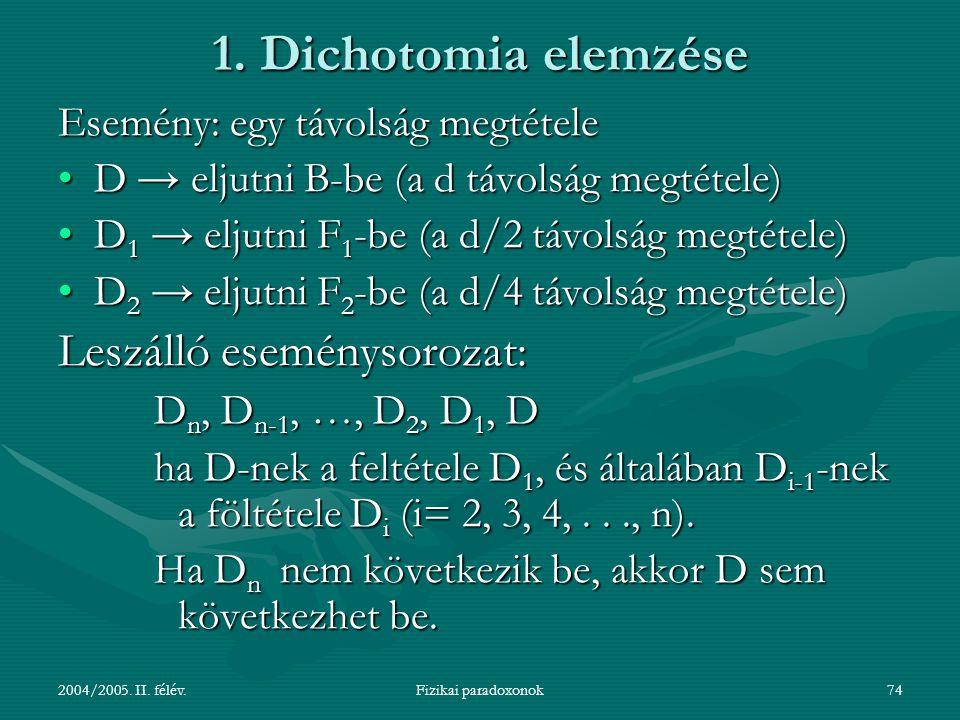 1. Dichotomia elemzése Leszálló eseménysorozat:
