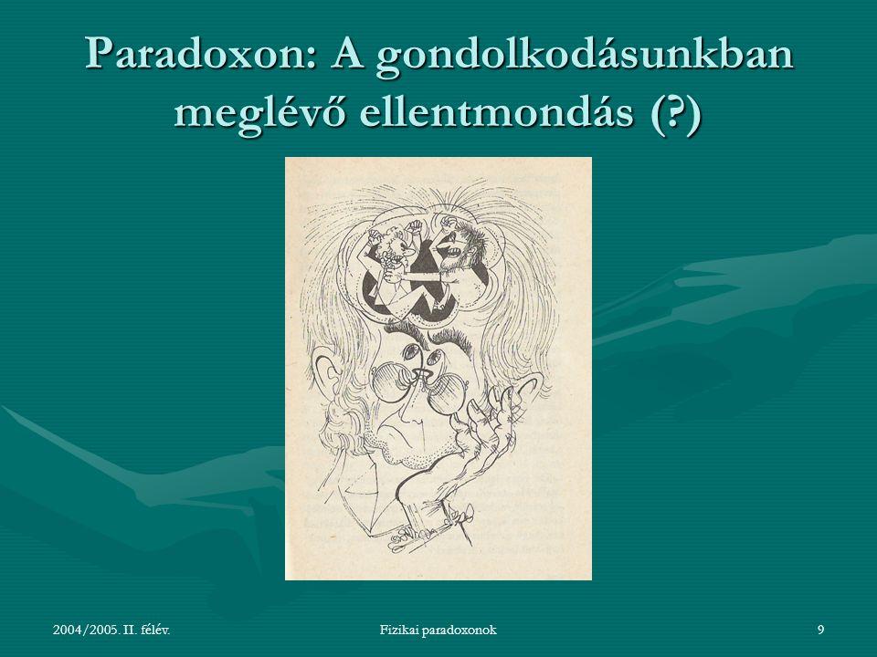 Paradoxon: A gondolkodásunkban meglévő ellentmondás ( )
