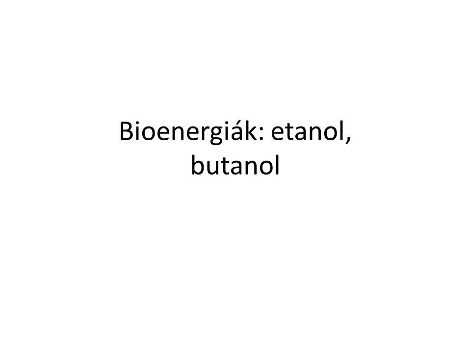 Bioenergiák: etanol, butanol