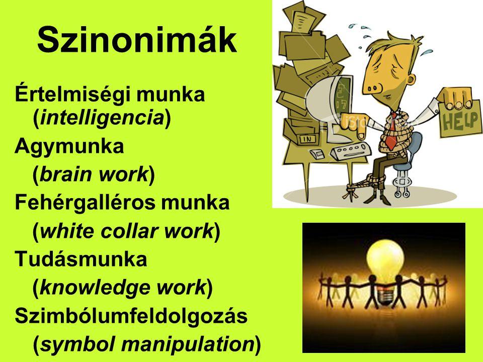 Szinonimák Értelmiségi munka (intelligencia) Agymunka (brain work)